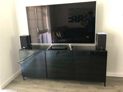 Ikea Besta Tv Unit Sideboard Black Gloss Finish Bargain