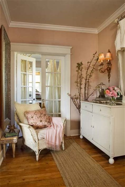 shabby chic wall color i like the peachy pink walls with the cool white and golden wood nice home pinterest pink