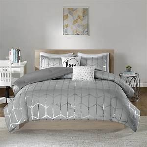 Intelligent, Design, Khloe, 5-piece, Grey, Silver, Full, Queen, Geometric, Comforter, Set-id10-1244