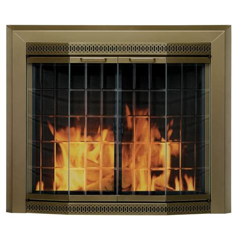 fireplace with glass doors pleasant hearth grandior bay small glass fireplace doors