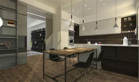 Cucina e soggiorno stile industrial contemporaneo