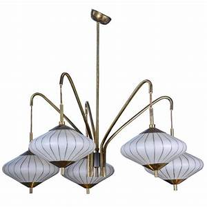 Small asian inspired metal and glass chandelier at stdibs