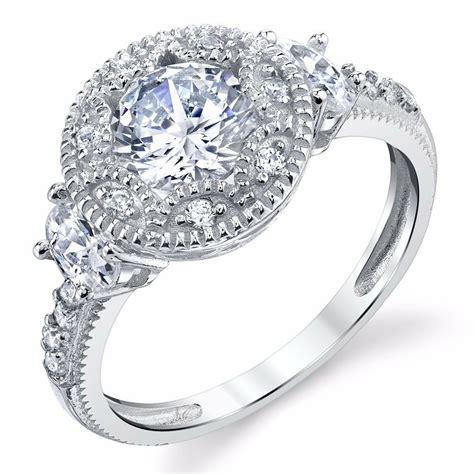 925 sterling silver halo engagement ring nouveau design ebay