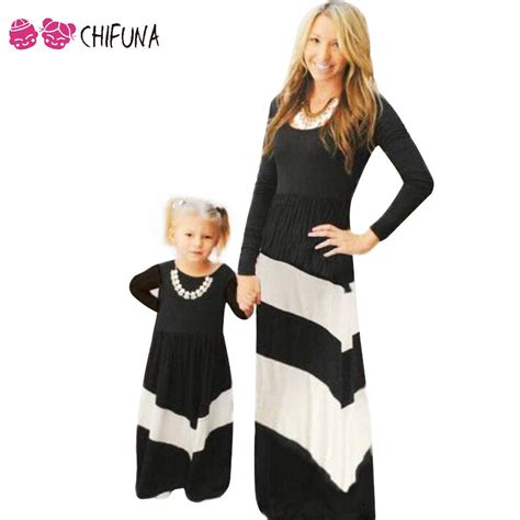 Chifuna Family Matching Outfits Mother Daughter Dresses Family Look White Black Striped Dress ...