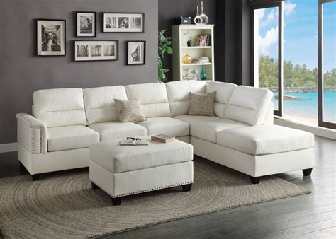 white loveseat modern white bonded leather sectional sofa ottoman