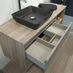 Organisateur Tiroir Salle De Bain : meuble salle de bain cambrian 120 cm 2 tiroirs terra ~ Teatrodelosmanantiales.com Idées de Décoration