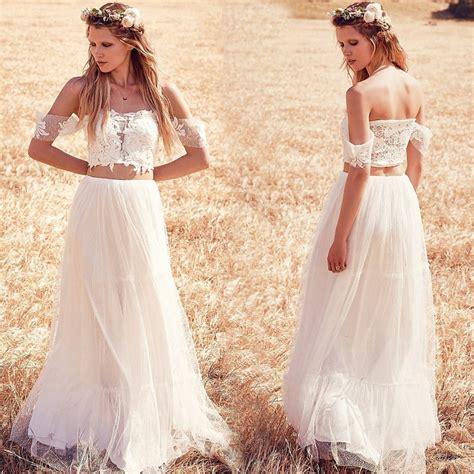 Vestidos De Noiva 2016 Off The Shoulder Boho Wedding Dress