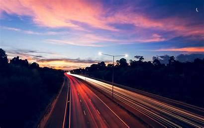 Highway Desktop Night Traffic Lights Exposure Wallpapers