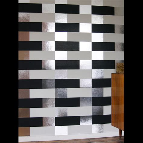 black white  silver geometric wallpaper block erica