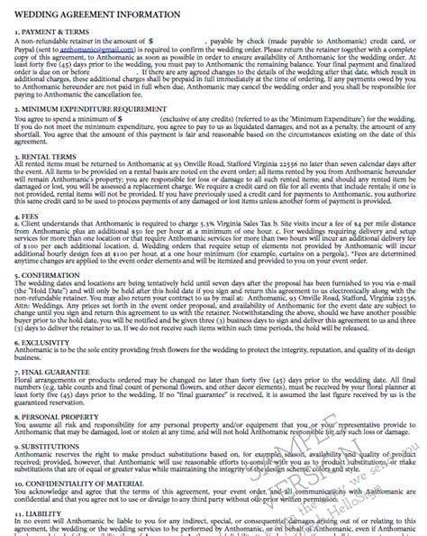 Wedding Florist Contract Template by Wedding Florist