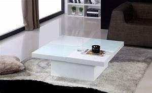 Table Basse Blanche Et Verre : une table basse en laqu et verre tremp originale et moderne ~ Teatrodelosmanantiales.com Idées de Décoration