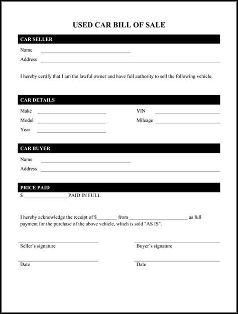 used car bill of sale form pdf bill of sale form template printable calendar templates