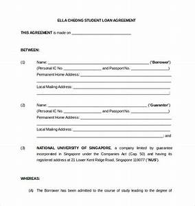 14 loan agreement templates free sample example for Student contracts templates