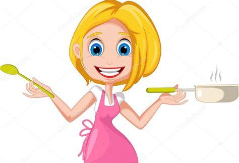 dessin animé de cuisine illustration de femme dessin animé présentant comment à la