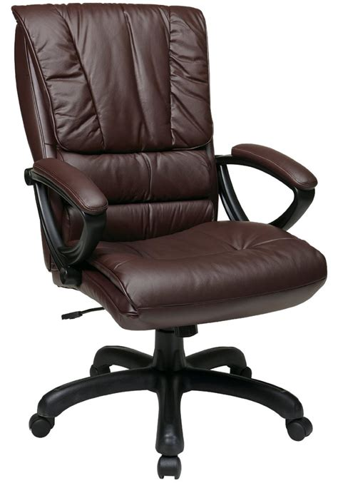 high back leather chair with pillow top seat and back by