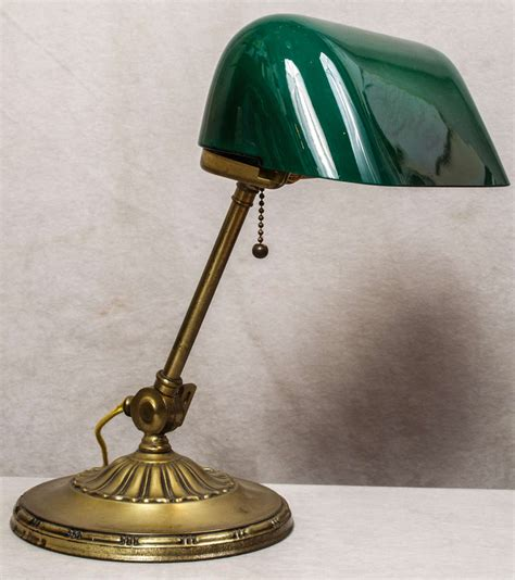 Bankers L Green Glass Shade by Banker S L With Green Cased Glass Shade At 1stdibs