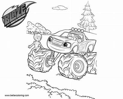 Blaze Monster Coloring Machines Drawing Line Printable
