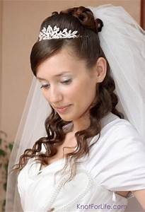 Half Up Down Wedding Hairstyles With Tiara And Veil ...