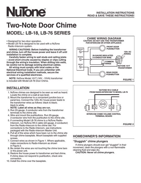 Nutone Two Note Door Chime User Manual Pages