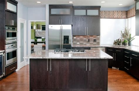 kitchen island with raised bar refinishing oak cabinets kitchen contemporary with modern