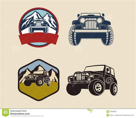 jeep illustration retro badges with jeep illustration stock vector image