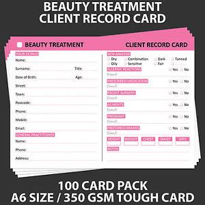 client record card beauty template client record cards health beauty ebay