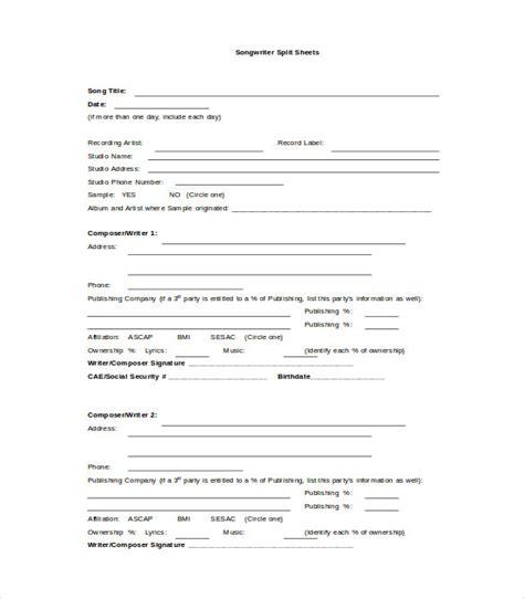 split sheet sheet template 9 free word pdf documents free premium templates