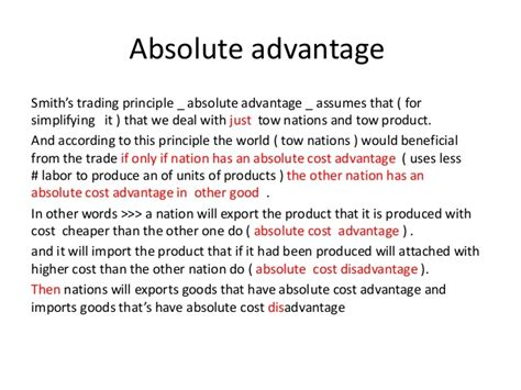 International Trade (absolute And Comparative Advantage