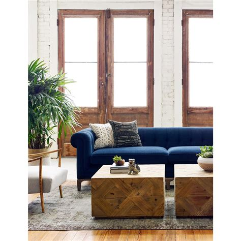 Velvet Tufted Sofa by Dorian Mid Century Navy Velvet Tufted Sofa Kathy Kuo Home
