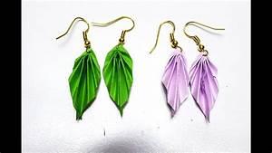 Diy Earrings  Origami Earrings Leaves  Origami Jewelry