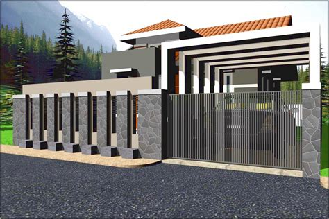 desain pagar rumah minimalis modern  lantai desain