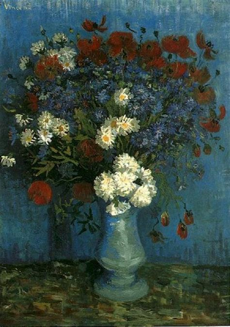 Vase With Poppies Vincent Gogh by Still Vase With Cornflowers And Poppies Vincent