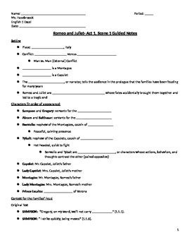 guided notes romeo and juliet act 1 1 guided notes handout tpt