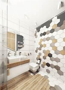 le carrelage hexagonal de salle de bain c39est tendance With revetement murs salle de bain