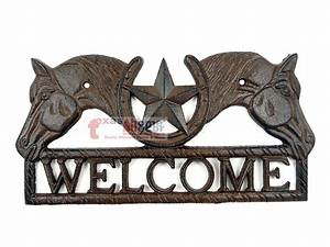 Rustic Western Cast Iron Welcome Plaque Horses Texas Star