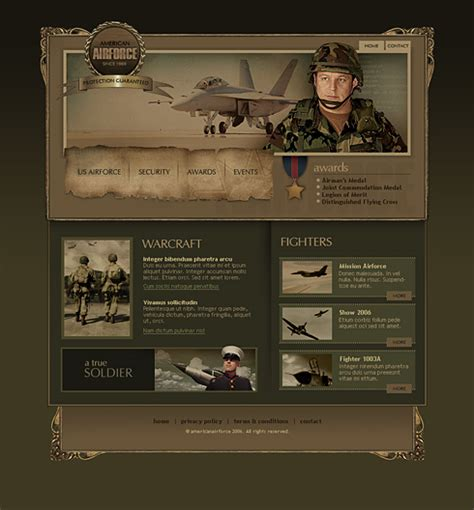 airplane website template  military security