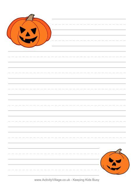 halloween writing paper pumpkins