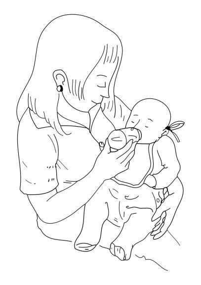 jeux bureau coloriage maman donne le biberon à imprimer