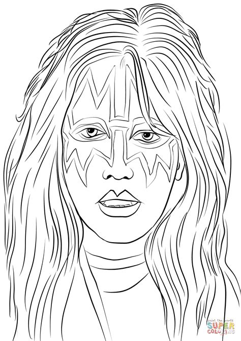 ace frehley  kiss band coloring page  printable