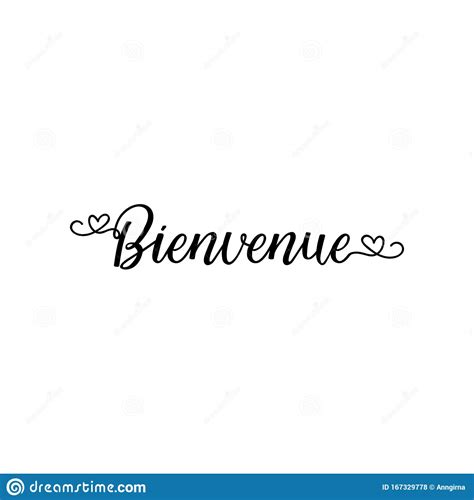 Bienvenue. Welcome In French Language. Hand Drawn ...