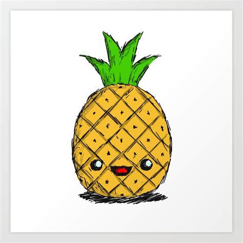 cute pineapple art print by thebigduo society6