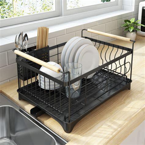 rust proof kitchen draining dish drying rack dish rack  black drain board dish rack