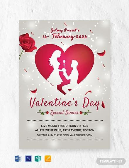 romantic valentines day menu template word psd