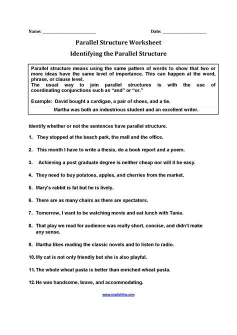 Englishlinxcom  Parallel Structure Worksheets