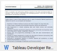 Tableau Developer Resume Pdf by Tableau Developer Resume Sle Template