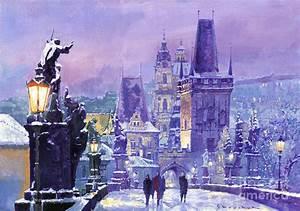 Prague Winter Charles Bridge Painting by Yuriy Shevchuk