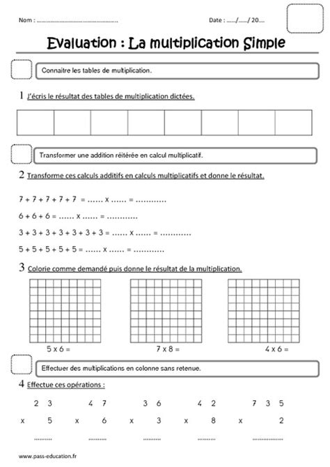 multiplication ce1 evaluation pass education