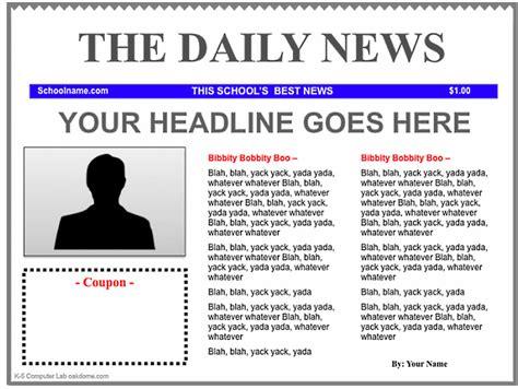 Newspaper Template Free Newspaper Template Cyberuse