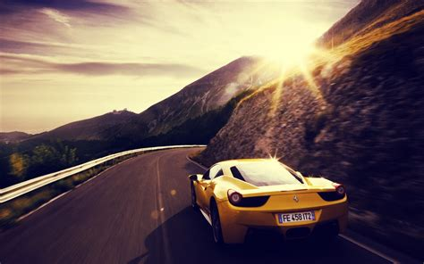 car sunset ferrari yellow cars road wallpapers hd
