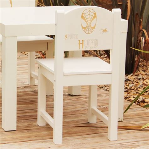 chaise personnalisée chaise d 39 enfant personnalisée en bois spider masque